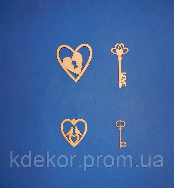 Сердечко з голубами заготівля для декору
