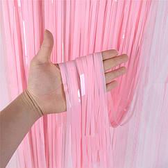 Шторка завісу з мішури матова розова 100 х 200 см