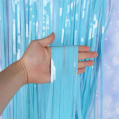 Шторка занавес из мишуры матовая голуба 100 х 200 см