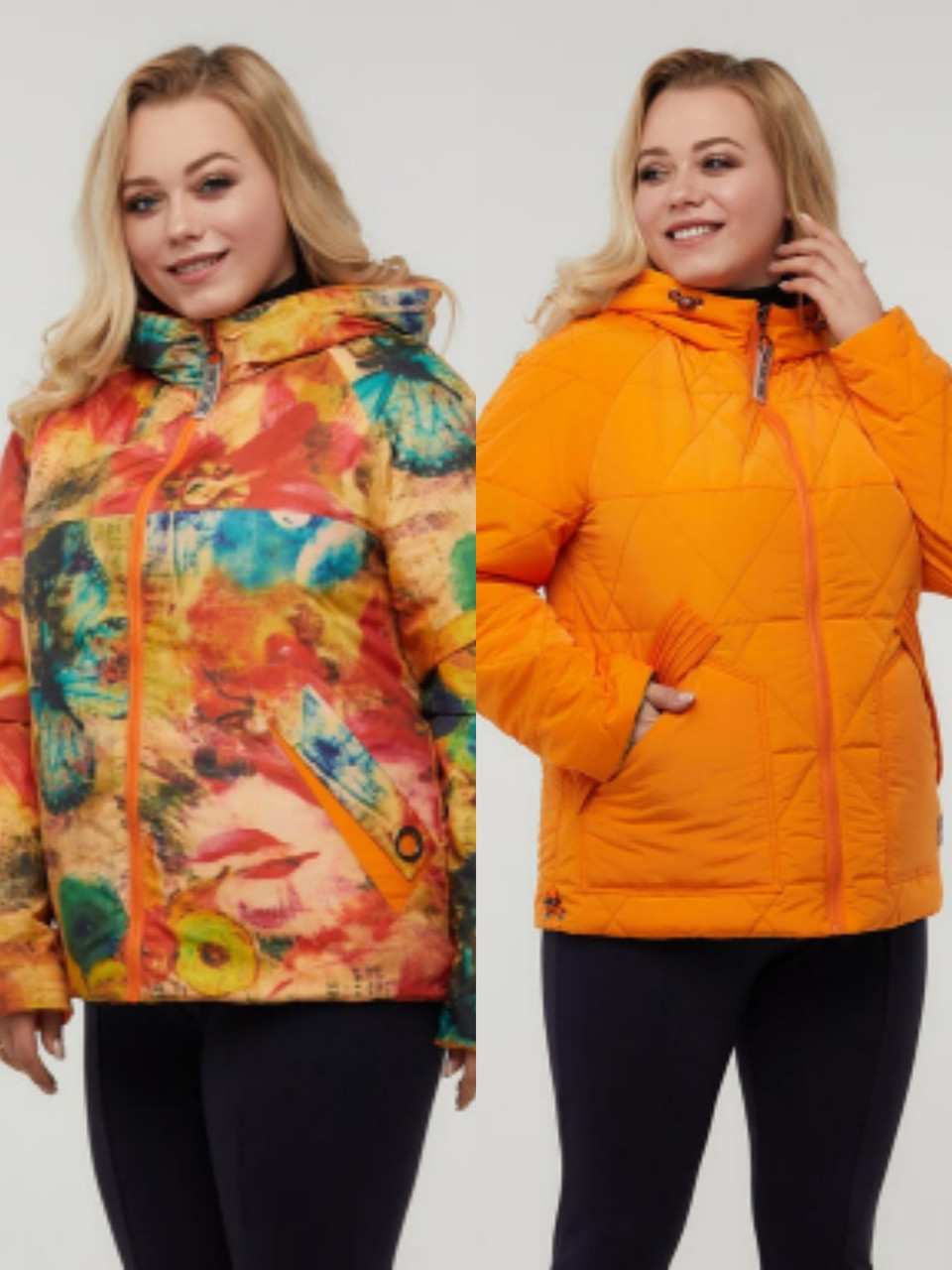 Двухсторонняя весенняя женская куртка больших размеров 48-68