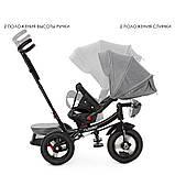Детский трехколесный велосипед коляска с пультом и поворотным сиденьем Turbotrike 4060 серый, фото 3