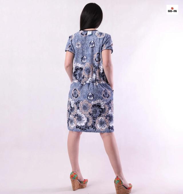 Халат женский летний на молнии с карманами синий батал