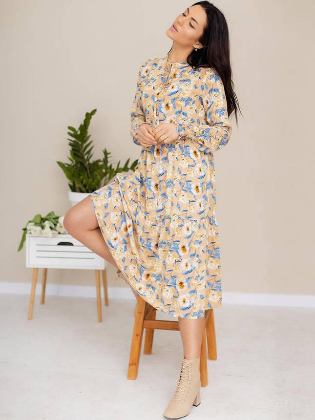 Легкое платье-миди из ткани в цветочный принт 3182 Бежевый, S, фото 2