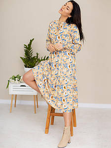 Легкое платье-миди из ткани в цветочный принт 3182 Бежевый, S