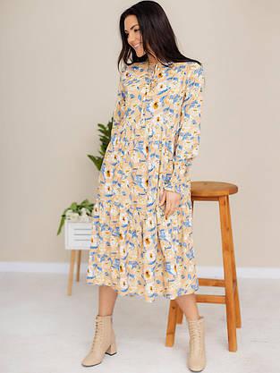 Легкое платье-миди из ткани в цветочный принт 3182 Бежевый, S, фото 3