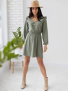 Короткое платье с рюшами на плечах 3173 оливковый S
