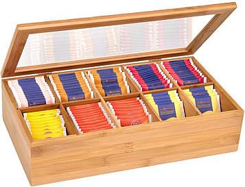 Коробка-шкатулка Gräwe из бамбука для хранения чая, сладостей и прочего 36x20x9 см