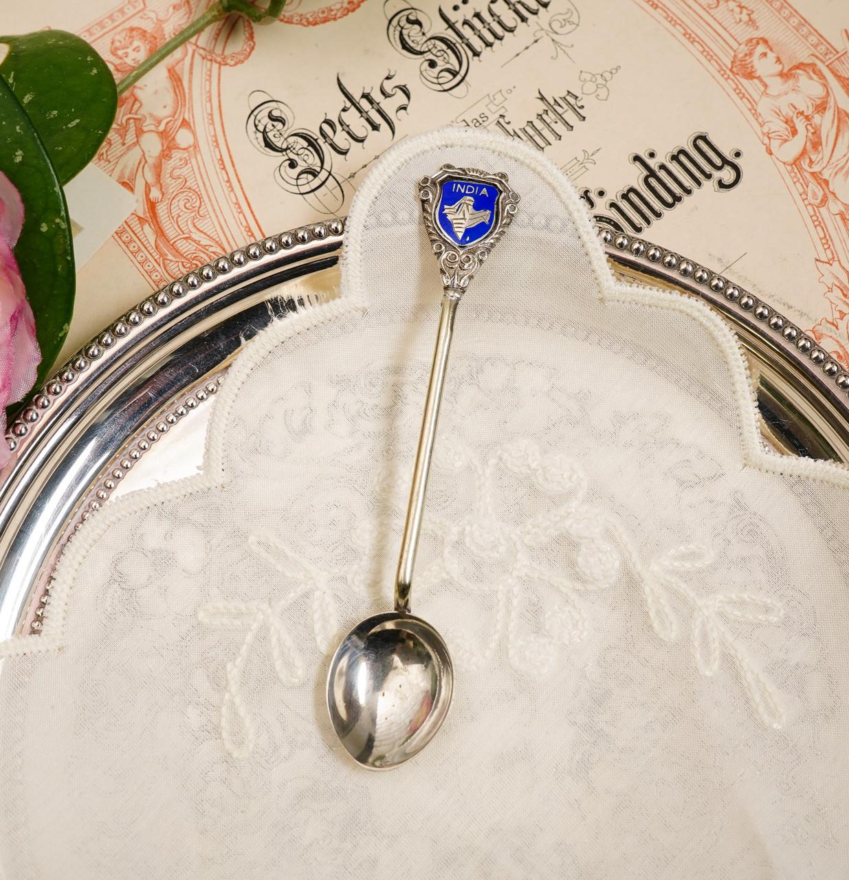 Коллекционная серебряная ложка INDIA, отмечена серебром Sterling (925 проба)