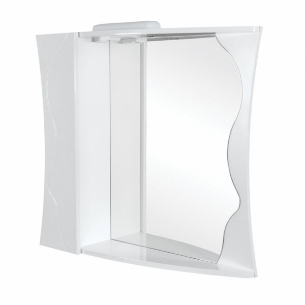 Зеркало с подсветкой и шкафчиком слева Аква Родос Соло 80 белый, 800х220х840 мм