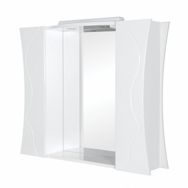 Зеркало с подсветкой и двумя шкафчиками Аква Родос Соло 100 белый, 1000х220х840 мм