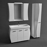Зеркало с подсветкой и двумя шкафчиками Аква Родос Соло 100 белый, 1000х220х840 мм, фото 2