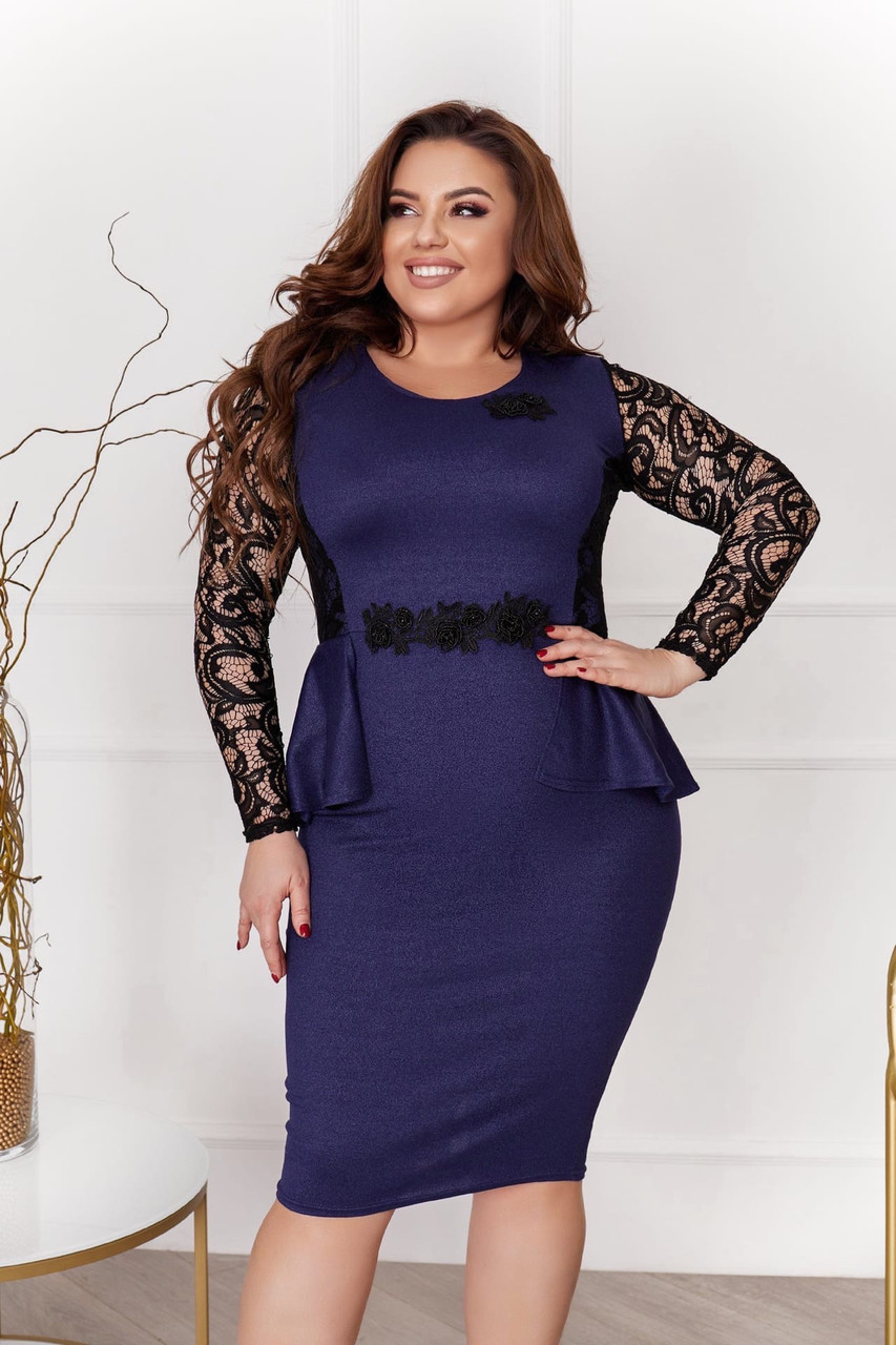 Нарядное платье с баской и гипюровыми рукавами и кружевными украшениями, батал большие размеры