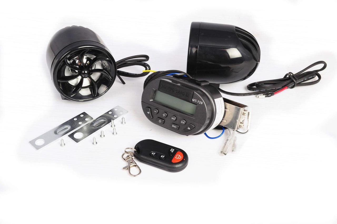 Аудіосистема мото 3, 2 * 5W черна сигналізація, МР3 / FM / SD, ПДУ mod: MT729 + AV253 NEO