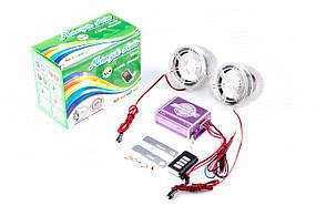 """Аудіосистема мото 3, з діодами, сигн., МР3 / FM / MicroSD, ПДУ, роз""""єм ППДУ 3.5 mm mod: 938"""