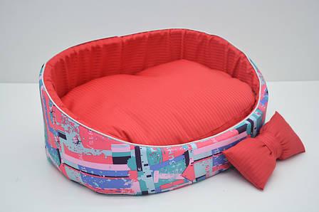 Лежак для собак и котов Акварель  №4 460х620х195 розовый, фото 2