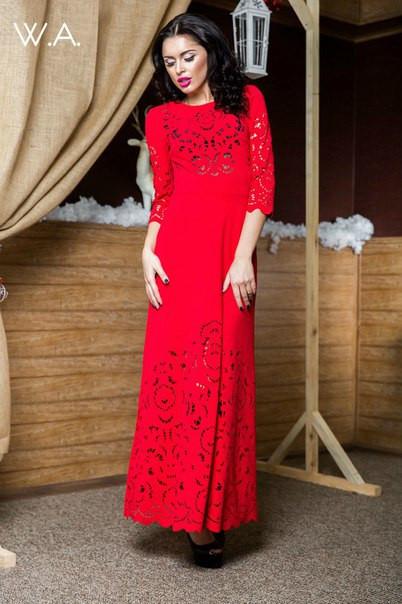 Длинное перфорированное платье САГ1506