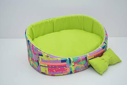 Лежак для собак і котів Акварель №2 375х495х185 салатовий або блакитний, фото 2