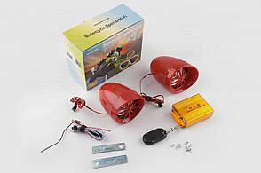 """Аудіосистема мото 3.5, червона, підсвічування, сигн., МР3 / FM / SD / USB, ПДУ, роз""""єм ППДУ 3K"""