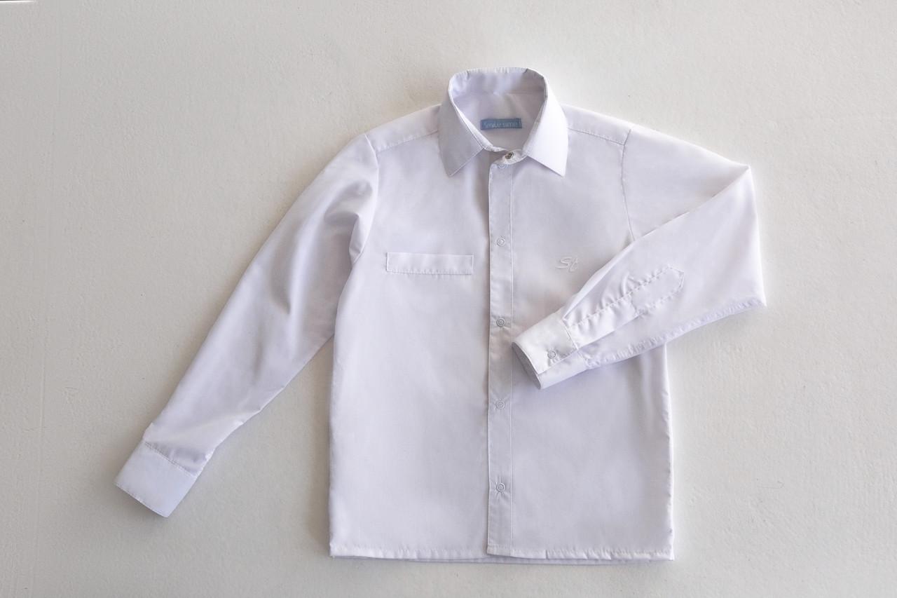 Белая рубашка для мальчика, с длинным рукавом SmileTime