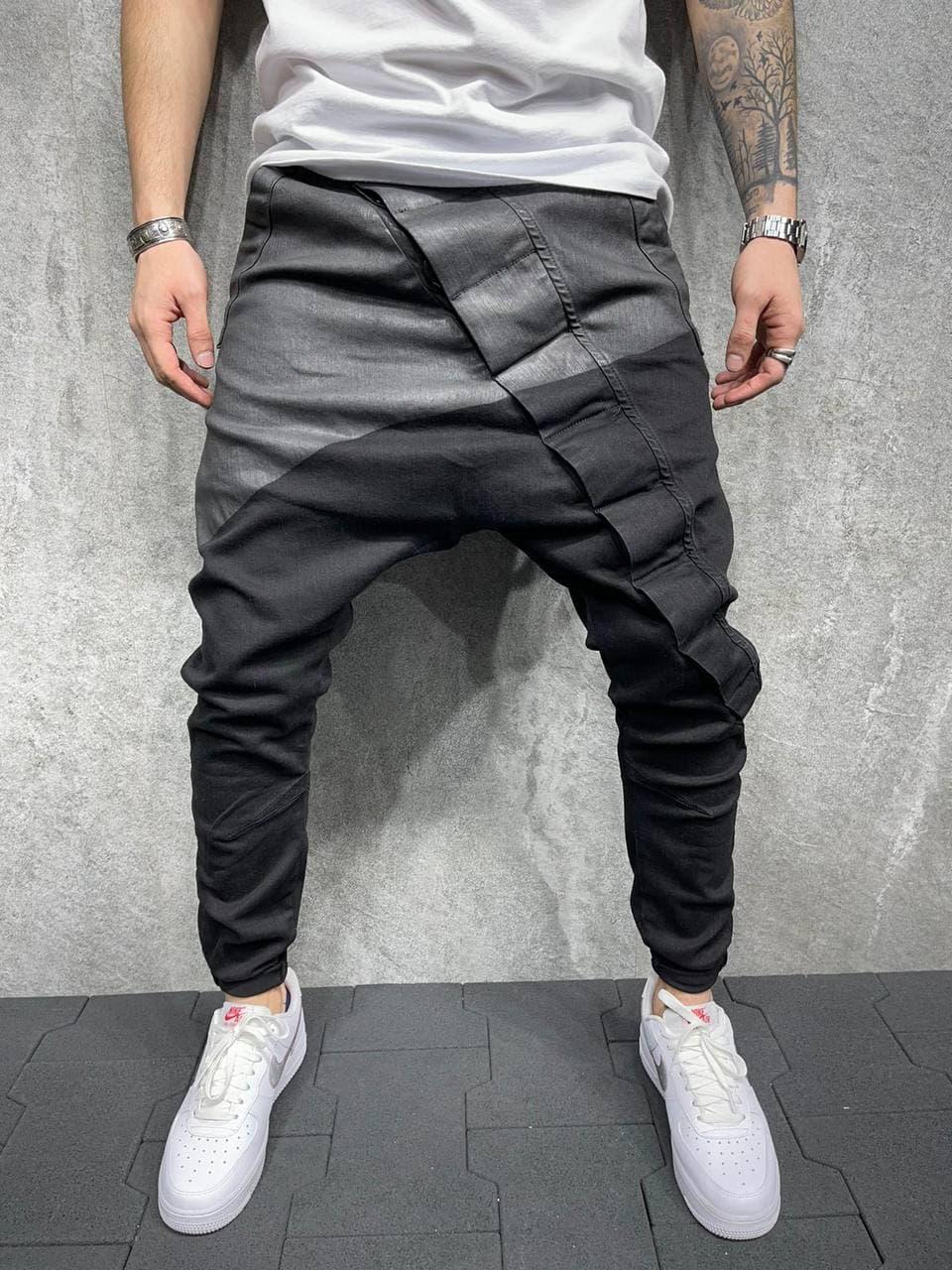 Чоловічі завужені джинси-бойфренди чорного кольору