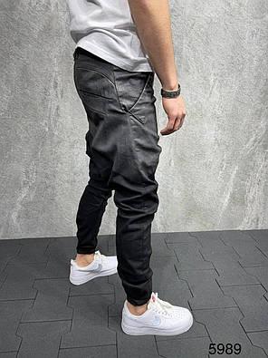 Чоловічі завужені джинси-бойфренди чорного кольору, фото 2