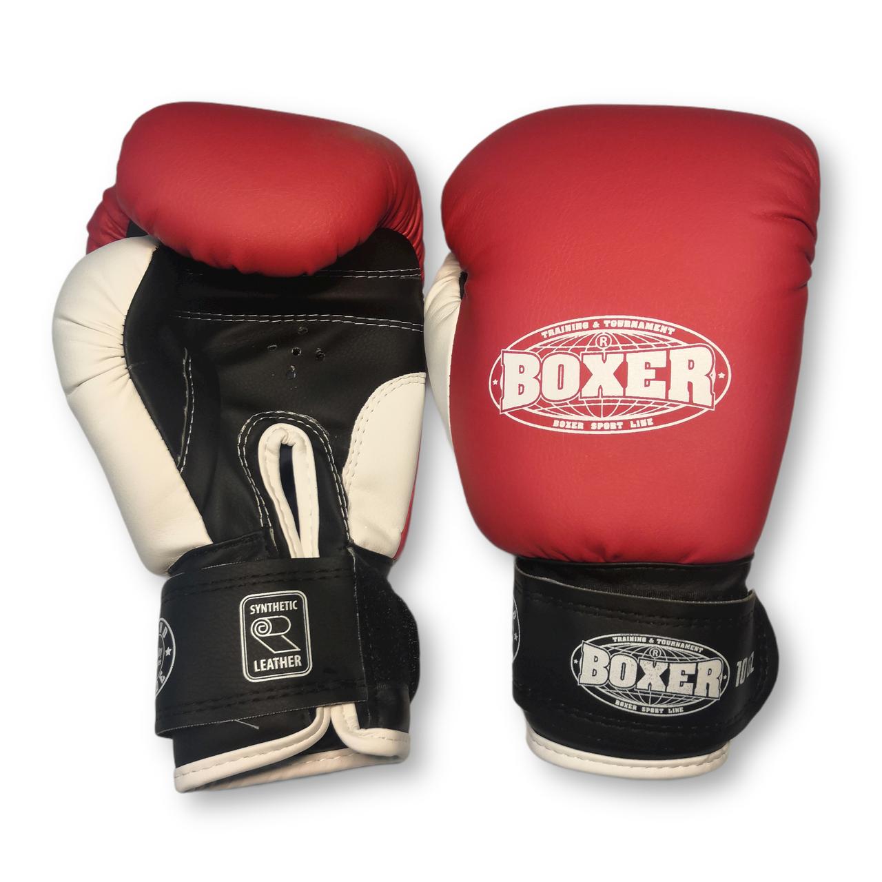 Боксерские перчатки 8 оz кожвинил, красные BOXER
