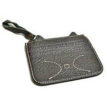 Картхолдер на 6 карт с карманом для купюр «Cat C077» черный-кофе