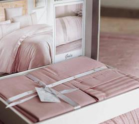 Евро размер «Deluxe Ranforce Gala Pudra» постельное белье пудрового цвета в полоску