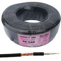 Кабель RG-58U медь EUROSAT (0.8СU+2.9PE+Al foil+64х0,12CCA) диаметр 5мм, чёрный, 100м