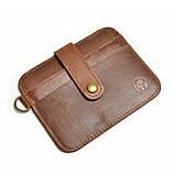 Кожаный картхолдер «Geeson» на 5 отделений коричневый, фото 3