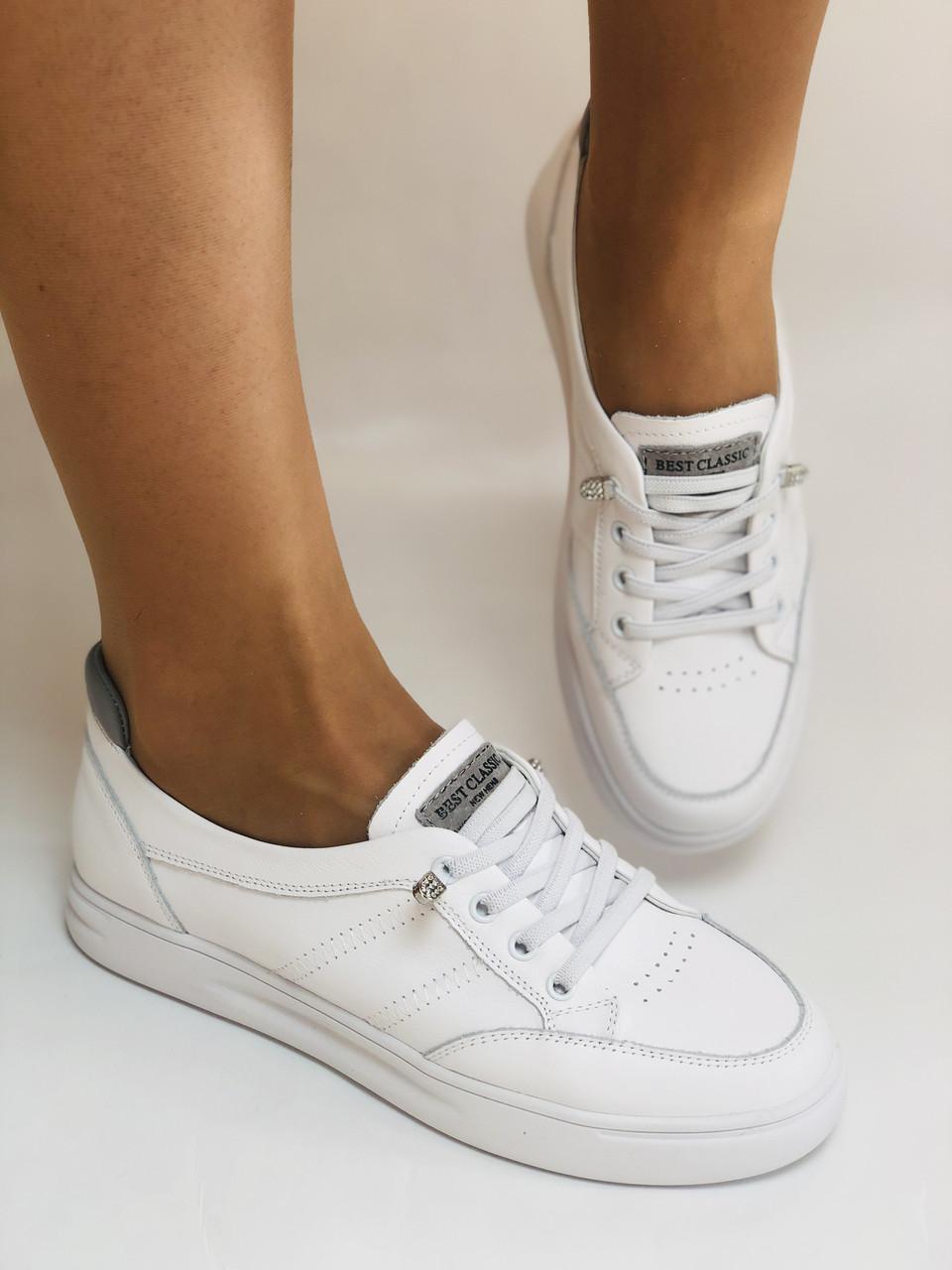 Nadi Bella. Женские кеды-кроссовки белые. Натуральная кожа. Размер 36.37.39.  Vellena