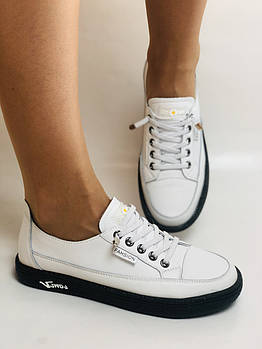 Женские кеды-кроссовки белые. Натуральная кожа. Размер 36.37.40  Vellena