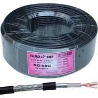 Кабель RG-58 медь многожильный (19x0,18Сu/64х0,12TCu) EUROSAT, Cu, 64%, чёрный, 100м