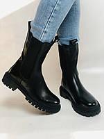 Женские осенние высокие ботинки Челси. Из натуральной кожи на низкой подошве. Р 36.38.40, фото 10