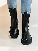 Женские осенние высокие ботинки Челси. Из натуральной кожи на низкой подошве. Р 36.38.40, фото 9