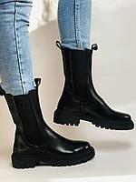 Женские осенние высокие ботинки Челси. Из натуральной кожи на низкой подошве. Р 36.38.40, фото 8