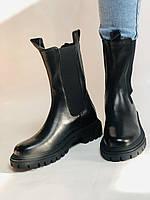 Женские осенние высокие ботинки Челси. Из натуральной кожи на низкой подошве. Р 36.38.40, фото 7
