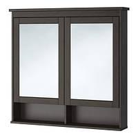 HEMNES Зеркальный шкаф с 2 дверцами, морилка черно-коричнев