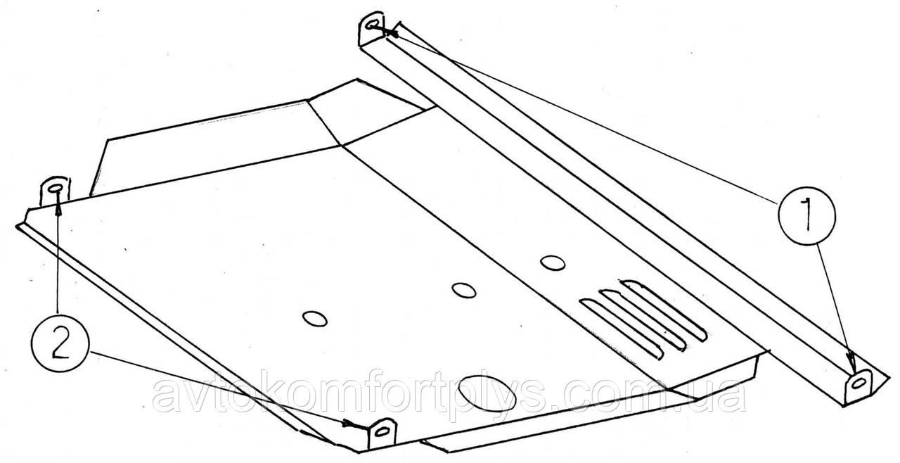 Металлическая (стальная) защита двигателя (картера) Nissan Almera I (1995-2000) (V-1,4; 1,6;)