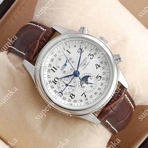 Механические наручные часы Longines Day phase Silver/White ААА 1309