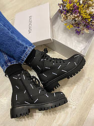 Женские ботинки Balenciaga Boots Black Logo, Баленсиага Бутс