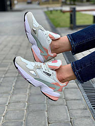 Женские кроссовки Adidas Falcon White Grey Pink, Адидас Фалкон