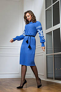 Жіноча в'язана блакитна сукня Любава