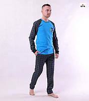 Піжама чоловіча в клітку бавовняна кофта зі штанами річна синьо-блакитний 44-60р.