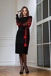 Жіноча сукня Любава з червоними квітами