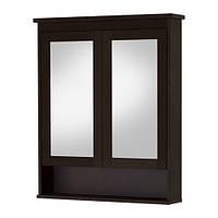 HEMNES Зеркальный шкаф с 2 дверцами, морилка темно-коричневый