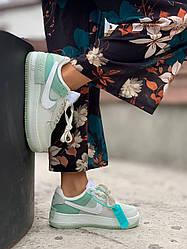 Женские кроссовки Nike Air Force Shadow White Mint, Найк Аир Форс