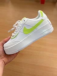 Жіночі кросівки Nike Air Force White Shadow Neon Green, Найк Аір Форс