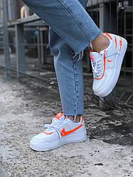 Женские кроссовки Nike Air Force Shadow White Orange, Найк Аир Форс