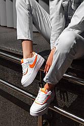 Жіночі кросівки Nike Air Force Shadow White Orange, Найк Аір Форс